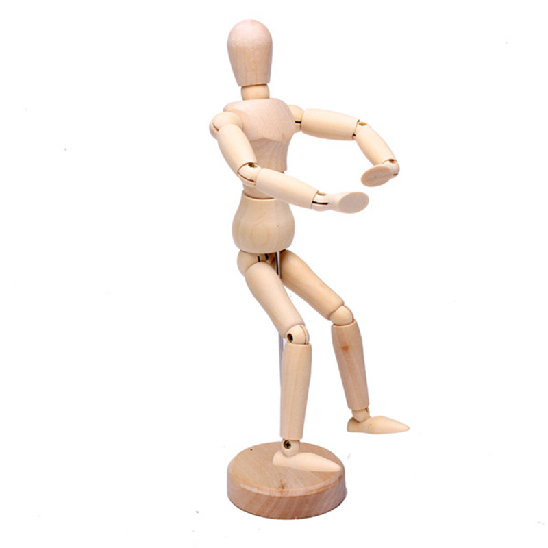 JIMITU Wooden Jointed Doll 14/20CM Body Action Figure Model Dolls Painting Sketch Cartoon Block Head Jointed Model Puppet
