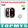 Free shipping 10pcs 2016 Newest ESCAM Doorbell QF600 Wifi DoorBell P2P indoor Surveillance Night Vision Security with TF SD Card