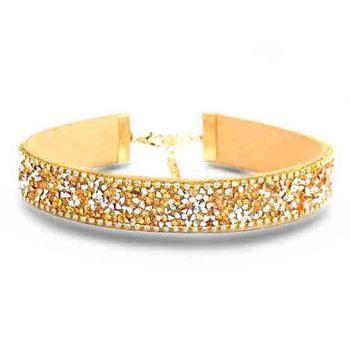 Crystal Rhinestone Beads PU Leather Punk Choker Necklace
