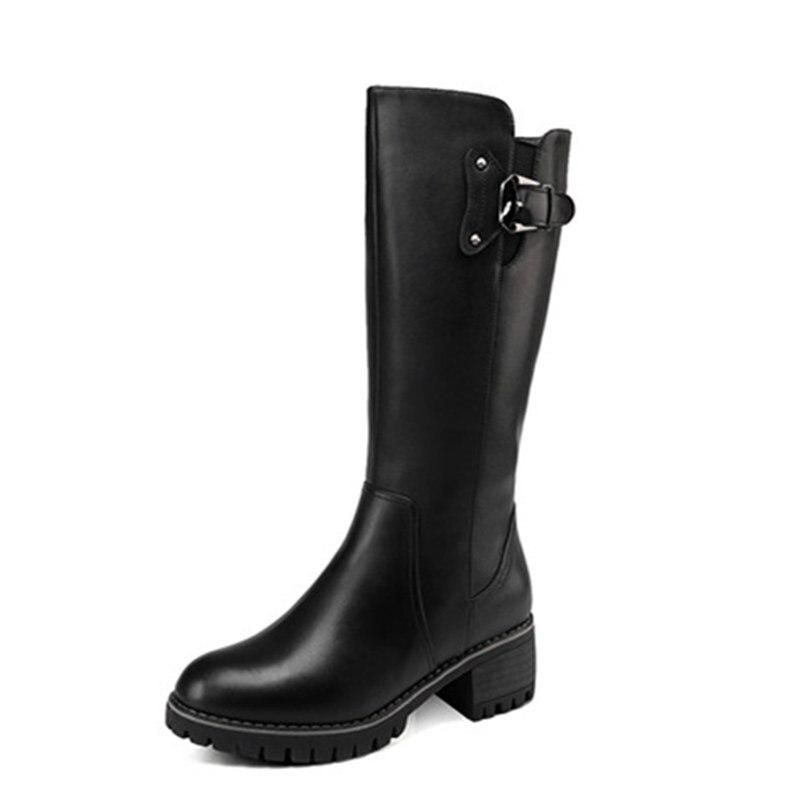 Femme mollet Talons Véritable Noir Épaisse Femmes Chaussures Laine Mi Cuir Chaud Top Qualité Neige Haute En Bottes Fedonas Hiver wXTZPq8X