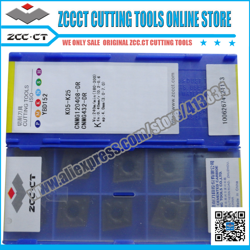 10pcs ZCC.CT insert CNMG120408-DR YBD152 ZCC inserts CNMG 120408-DR turning tool insert CNMG12 ZCCCT for cast iron