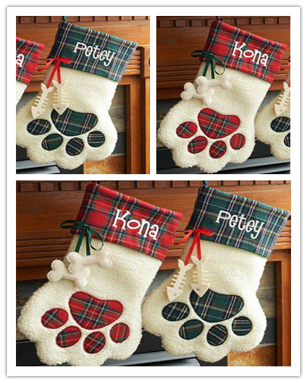Us 180 0 50pcs Lot New Arrival Christmas Stocking 2 Colors Stocked Monogrammed Dog Paw Plaid Christmas Stocking In Stockings Gift Holders From