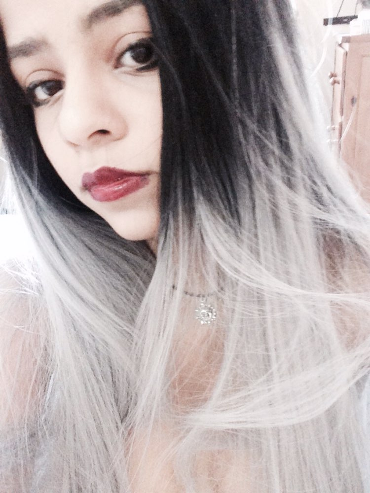 Fashion straight ombre grey synthetic lace front wig glueless long