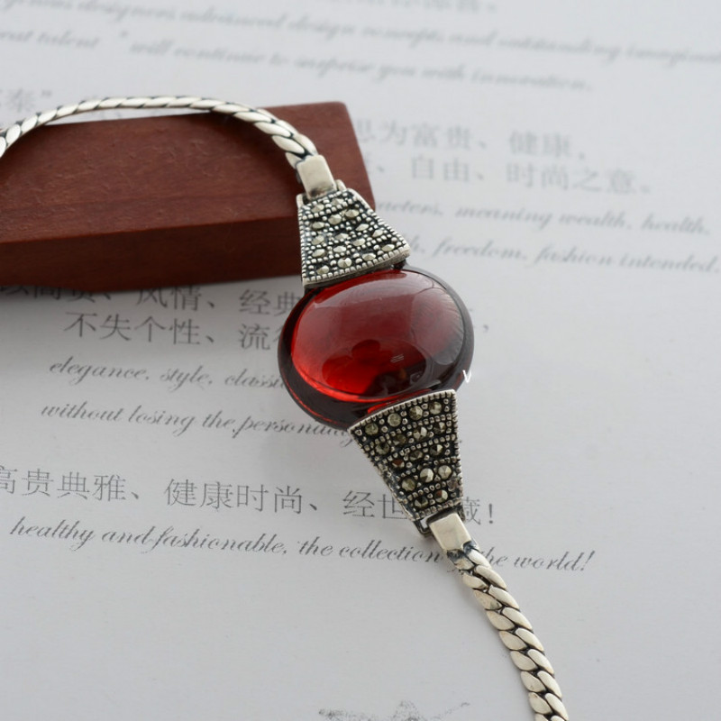 Genuine 925 Sterling Silver Bracelet for Women Thai Silver With Red Garnet Green White Natural Stone Fine Jewelry fashion 925 sterling silver 5mm red garnet bracelet women gift thai silver jewelry several string long bracelet ch041954
