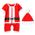 Short-sleeve Christmas Santa Claus Baby Rompers + Xmas Hat Set Unisex Little Boy Girl Clothes Outfit YM23TZ