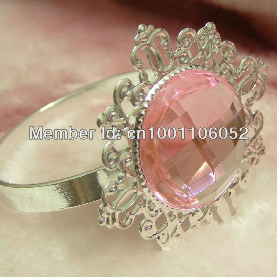 Free Shipping 20pcs Pink Gem Vintage Style Silver Napkin Rings Wedding Bridal Shower Holder