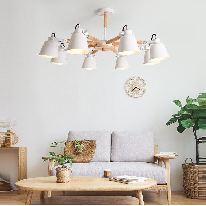 New Arrive Nordic Chandelier E27 Modern Living Room chandeliers Suspension Lighting Fixtures Lam paras Wooden Chandelier