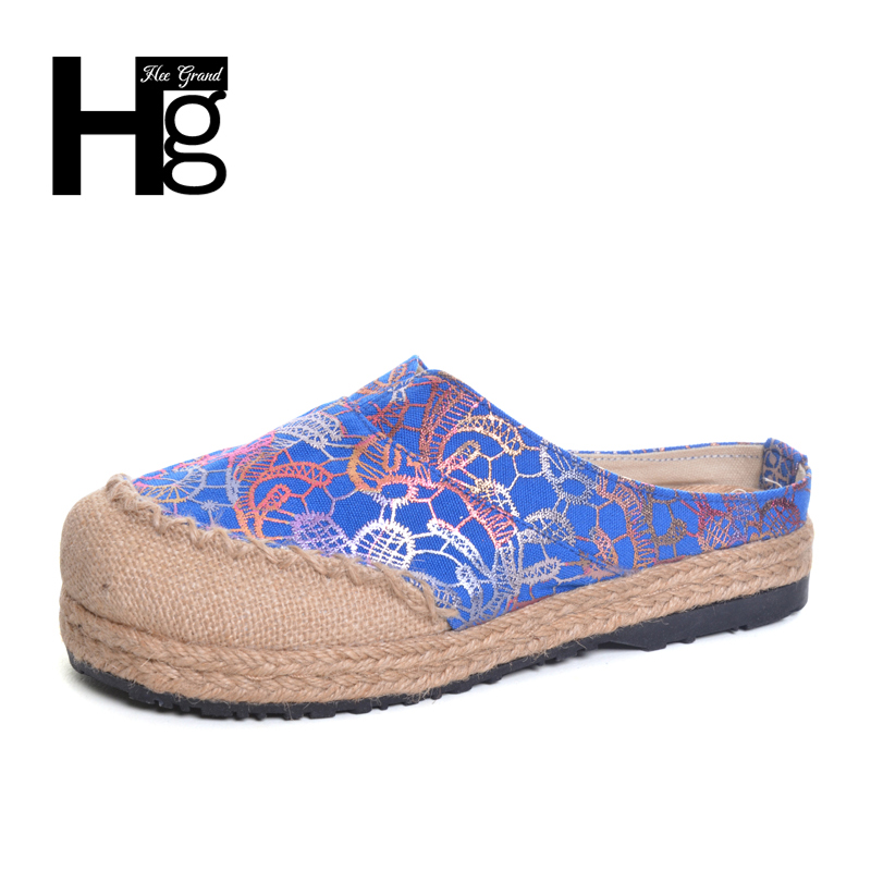 HEE GRAND  Chinese Style Traditional Women's Loafers Unique Manual Flower Flat Plus Size 36-40 Slipper Shoes for Woman XWX6013 old beijing embroidered women shoes mary jane flat heel cloth chinese style casual loafers plus size shoes woman flower black
