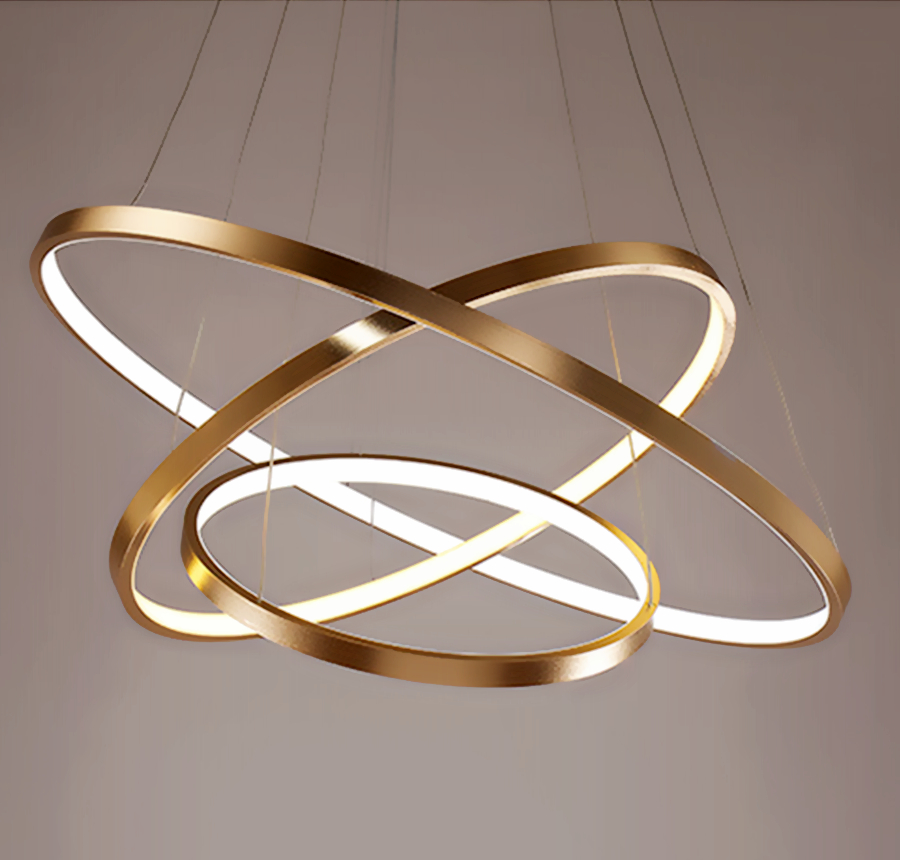 Modern Pendant Lights For Living Room Dining Room Circle Rings Acrylic Aluminum Body LED Ceiling Lamp Fixtures kitchen lighting modern led pendant lights for dining living room hanging circel rings acrylic suspension luminaire pendant lamp lighting lampen