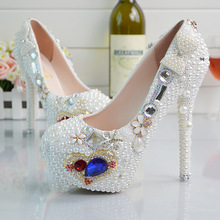 New 2016 Brands Beautiful Pearl Lace manual White Wedding Shoes Women Pumps Party Dance Sexy High-Heeled Shoes 9/11/14 eur 34-42