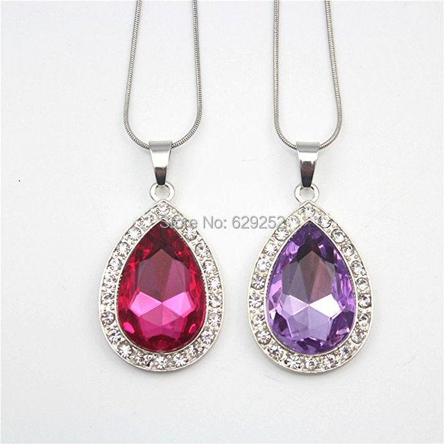 2Pcs Set Amulet Teardrop Sofia The First Necklace Gift For Girls Baby Pandent Birthday Gifts