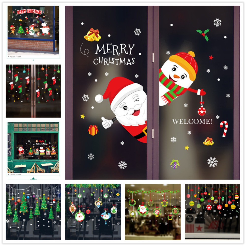 Wall-Stickers Decoration Removable Vinyl Tree Glass Merry-Christmas Window Santa-Claus