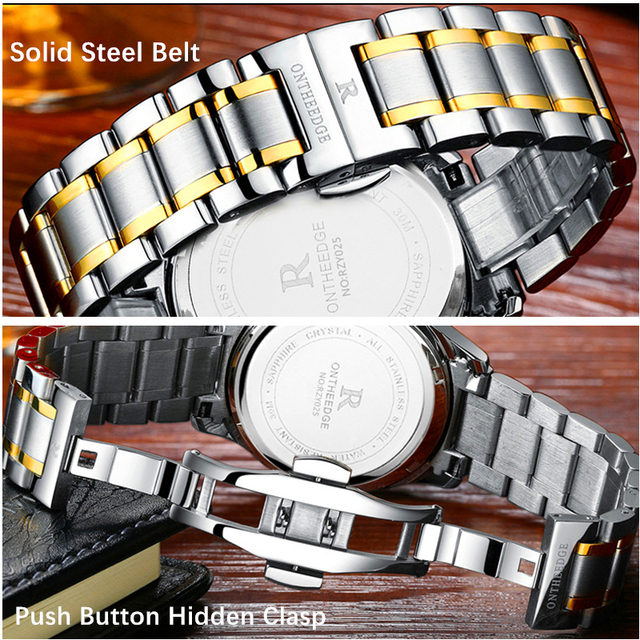 ONTHEEDGE Top Luxury Men Watch Sport Waterproof Men Business Wristwatch Stainless Steel Clasp Males Classical Quartz Clock Gift