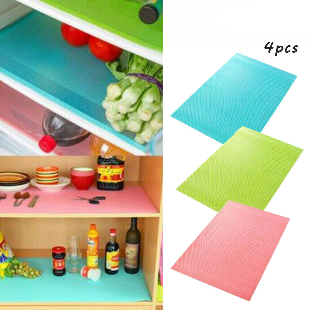4pcs Easy Clean Antibacterial Cabinet Pad Anti-oil Anti-frost Fridge Liner Mat Can Cut Off