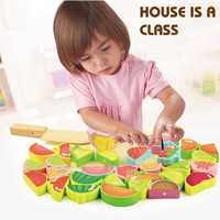 Kid Kitchen Toy Wooden Fruit Vegetable Food Cutting Pretend Play Toys Set NEW ARRIVAL