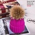 18 СМ Помпон моды осень зима женщины вязаная шапка мех енота мяч шляпа шерстяные шапки женские толстые теплые Шапочки Головные Уборы помпон
