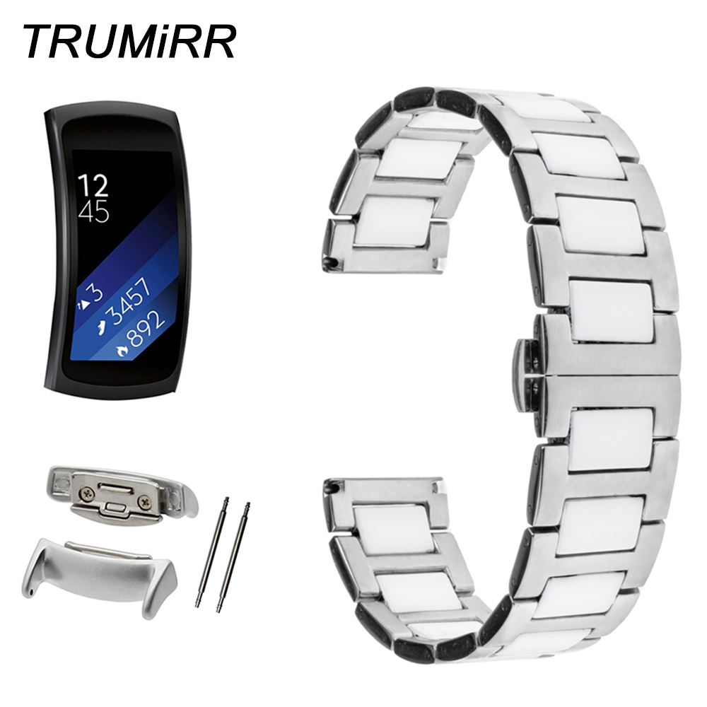 Ceramic & Stainless Steel Watch Band with Adapters for Samsung Gear Fit 2 SM-R360 Butterfly Clasp Strap Wrist Belt Link Bracelet цена 2017