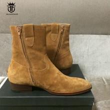 Handmade Vintage High Zip Suede Boots Brown Scrub Cowhide Wedge Wyatt Chelsea Boots