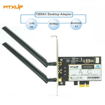 WTXUP Wireless-AC 7265 802.11ac 867Mbps + 300Mbps PCI Express Desktop WiFi Adapter Bluetooth 4.0 for Intel 7265AC PC wifi Card - DISCOUNT ITEM  10 OFF Computer & Office