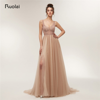 Sexy Prom Dress 2018 Low Neck A Line Beaded Evening Dresses Long With Slit Luxury Prom