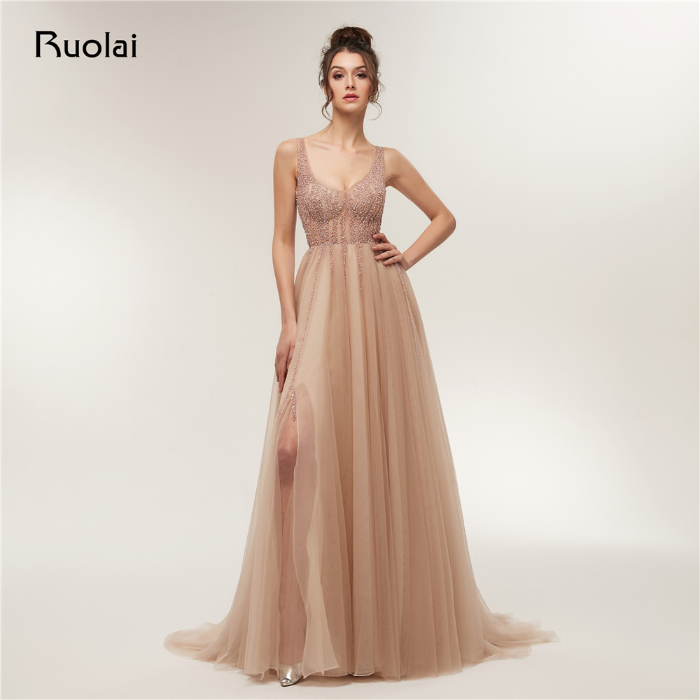 Sexy Prom Dress 2018 Low Neck A Line Beaded Evening Dresses Long with Slit Luxury Prom Party Gown Robe de Soiree RE12