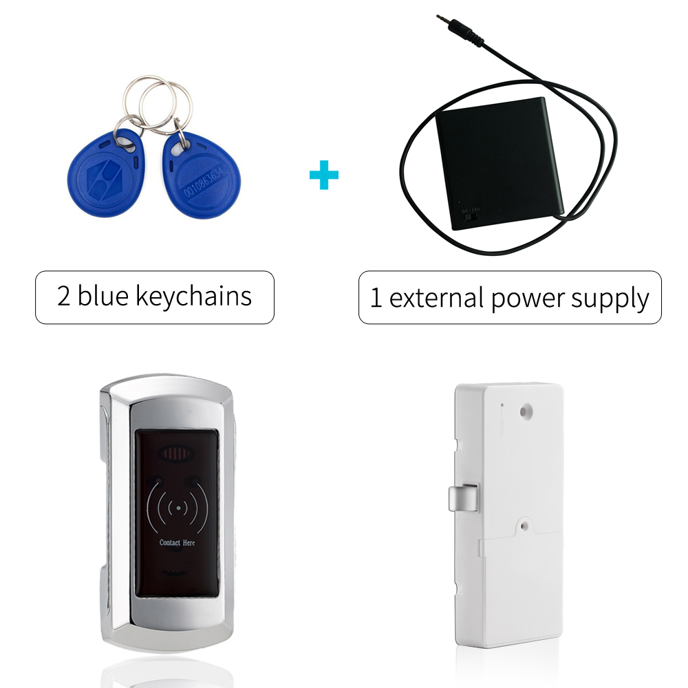 Digital Electronic RFID EM Cabinet Locker Lock With External Power Supply And 2 Blue Keychains