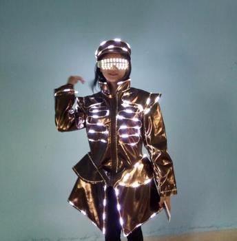 Светодиодная светящаяся униформа официанта с очками и шляпой, растущий светильник DS DJ, вечерние бара KTV, одежда официанта для ночного клуба