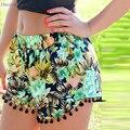 Daisy & Na  New Summer Women Casual Sexy Shorts Floral-Print Elastic Waist Tassel Shorts 030