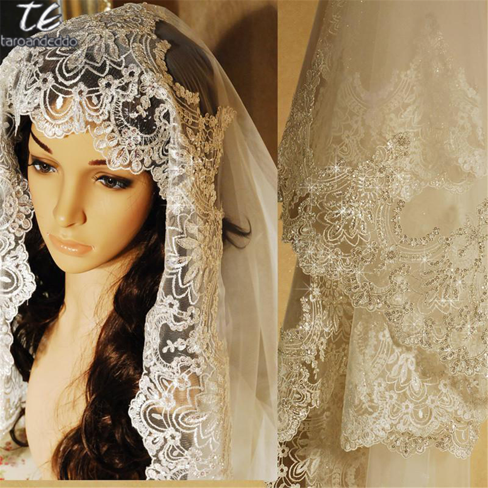 3M Lace Appliques Edge Cathedral Length Sequin Bridal Veil Long Wedding Veil Chic Shiny  ...