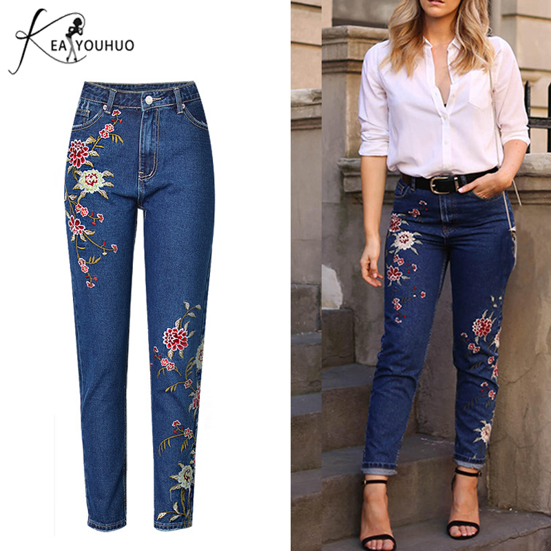 2018 Embroidery Vintage Boyfriend   Jeans   For Women Denim Pants Mom   Jeans   Woman High Waist Skinny   Jeans   Femme Feminino Trousers