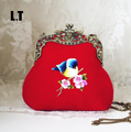 2017 Lady Wool Embroidery Handmade Vintage Retro Trendy Antique Old China Bird Animal Small Cell Phone Frame Red Crossbody Bag