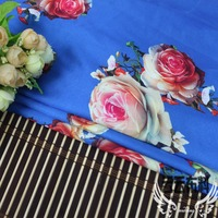 150 100cm High Grade Silk Satin Blue Flower Style Fabrics For Women S Dress Dolls Shabby