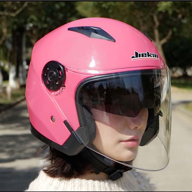 Electric Bicycle Reviews >> Dual lens women pink motorcycle helmet JIEKAI JK512 electric bicycle motorbike helmets Seasons ...