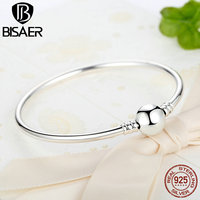 100 Real 925 Sterling Silver Original Snake Chain Bracelet Bangles For Women Fit DIY Charms Beads