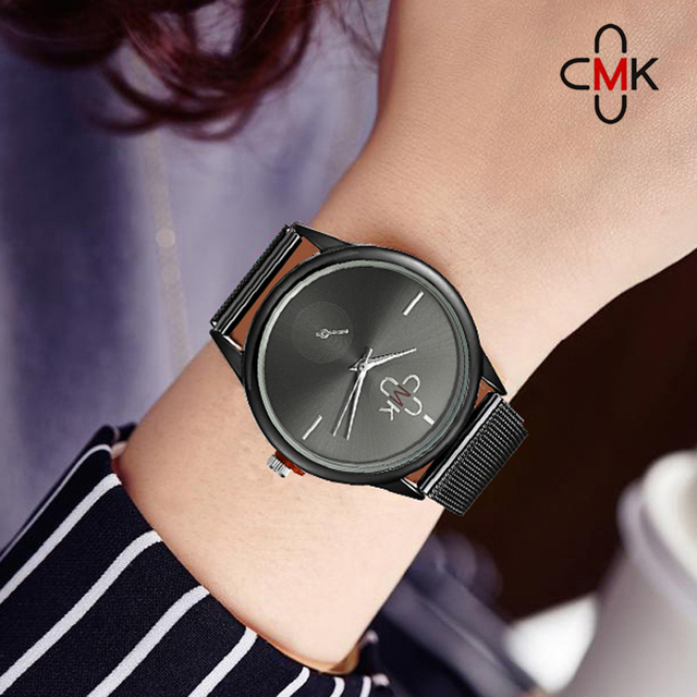 57989b10c30 CMK 2018 Top de Luxo Da Marca Mulheres Relógios Relógio Banda Malha De Aço  Inoxidável Super