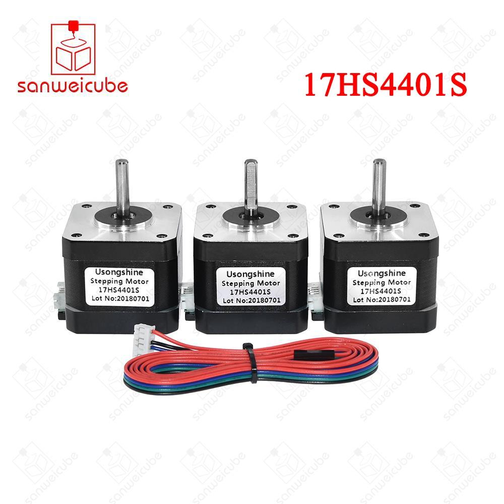 3pcs/lot 17HS4401S V5 V6 4-lead Nema17 Stepper Motor 42 motor Nema 17 motor 42BYGH 1.5A (17HS4401S) for CNC 3pcs lot 17hs4401s v5 v6 4 lead nema17 stepper motor 42 motor nema 17 motor 42bygh 1 5a 17hs4401s for cnc