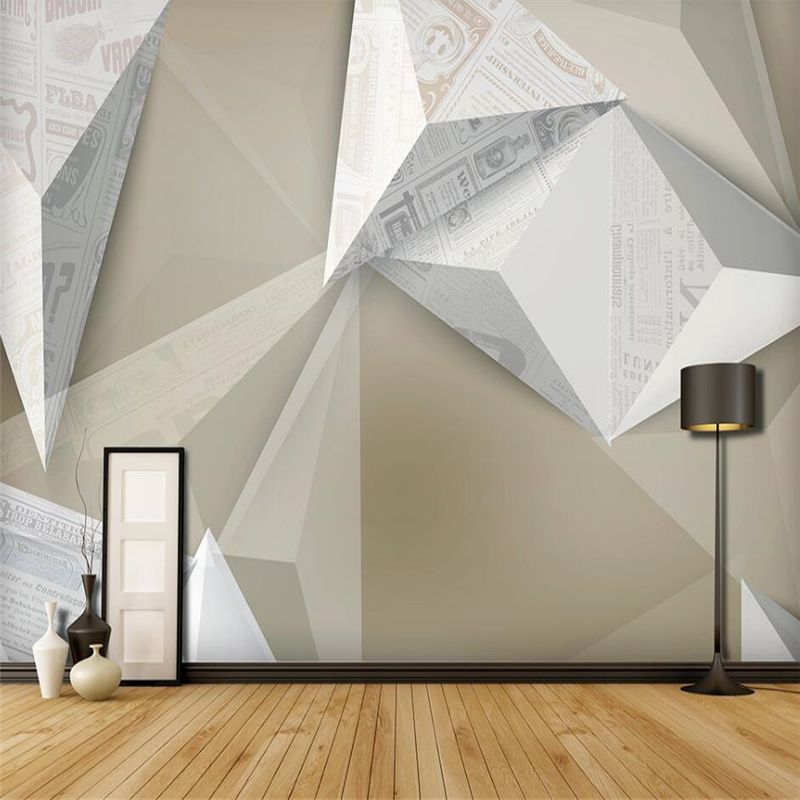 Beibehang Industrial Style Solid Geometry Creative Abstract Newspaper Retro Wall Custom Large Mural Green Wallpaper