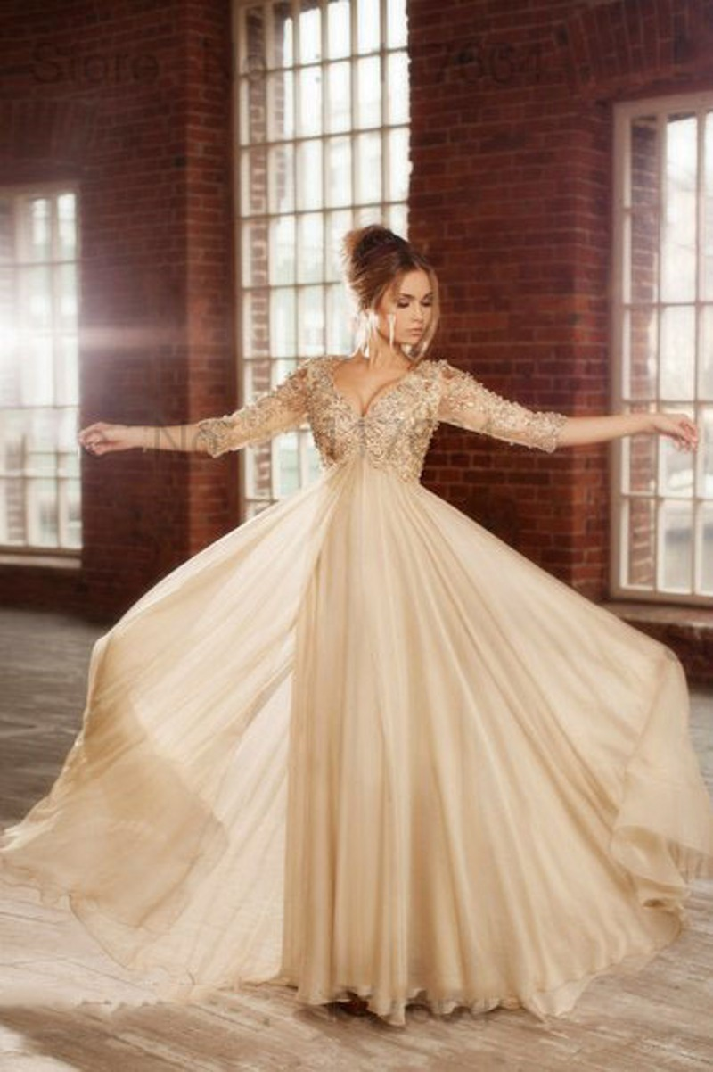 Maternity prom dress prom dress for pregant women - Champagne Elegant Long Evening Dresses 2015 Fashion Arabic Beading Crystal Plus Size Maternity Pregnant Formal Gowns
