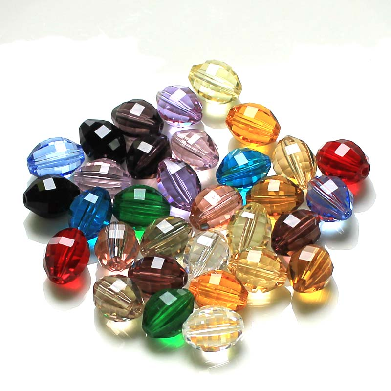 100pcs Multi Color 13x10mm Crystal Beads Oval Shape Glass Beads Loose Spacer Beads DIY Jewelry Making Austria Beads AAA in Beads from Jewelry Accessories