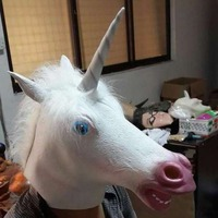 Halloween Silicone Costume Prop Cosplay Unicorno Testa Lattice di Gomma Maschera e Guanti Hooves Animale Adulto Mascherine Del Partito