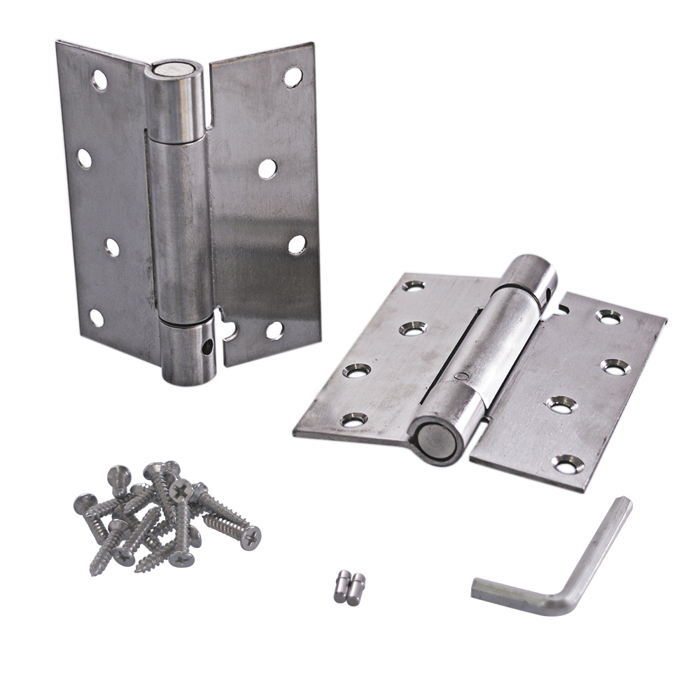 4 Inch Stainless Steel Automatic closing Single Action Silver Spring Door Hinges Adjustable tension Pack of 24 Inch Stainless Steel Automatic closing Single Action Silver Spring Door Hinges Adjustable tension Pack of 2