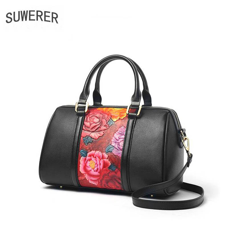 SUWERER 2019 New Women Genuine Leather bags luxury handbags women bag designer Cowhide Embossed bag women leatherBoston bag