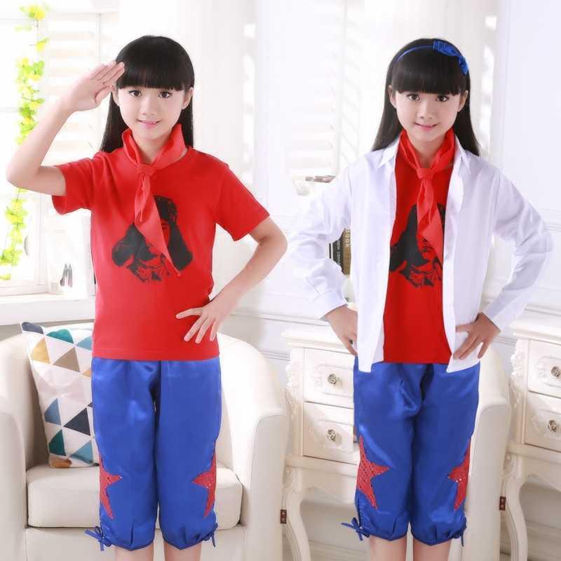 Liuyi幼児子供私アイドル学習レイ風水良い例ダンス服スパークリングレッドスターコーラス衣装