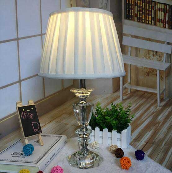 European palace table lamp crystal fabric modern bedroom ...