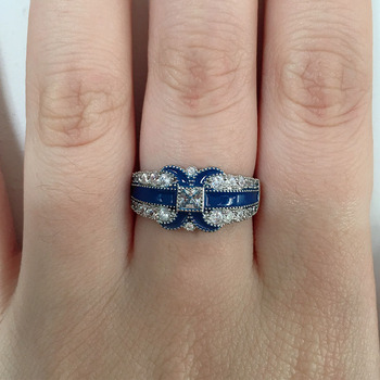 HUITAN Stylish Women Ring With Letter X Fashion Blue Micro Paved Ladies Daily Accessories Wholesale Lots&Bulk