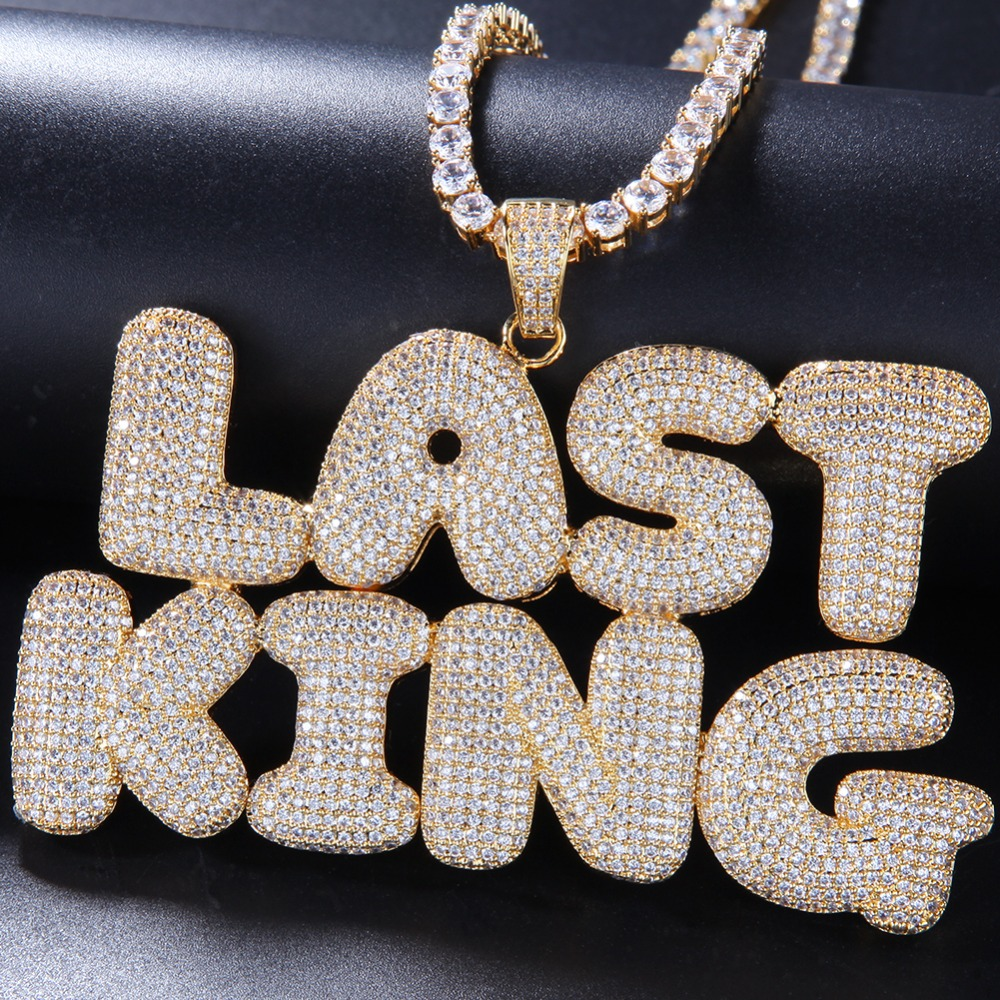 lovty Unisex CZ Tennis Letters Pendant Custom Name Necklace Personalized Zircon Iced Out Necklaces Hip Hop Pendants for Men Women