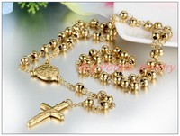 Fashion Christmas Gift 316L Stainless Steel Gold Plated Jesus Cross Pendant Rosary Beads Chain Mens Womens