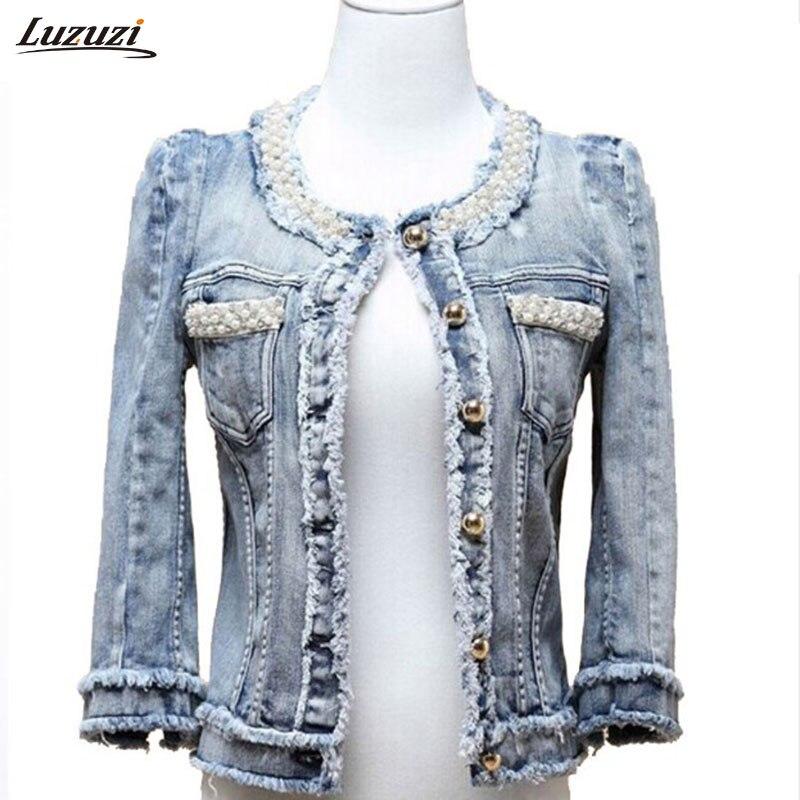 1PC Denim Jacket Pearls Beading Jeans Jacket Women Short Coat Jaqueta Feminina Casaco Feminino Spring Autumn