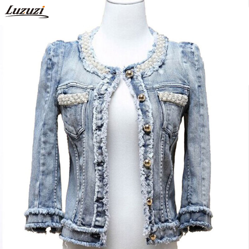 1PC Denim Jacket Pearls Beading <font><b>Jeans</b></font> Jacket Women Short Coat Jaqueta Feminina Casaco Feminino Spring Autumn Outerwear Z481
