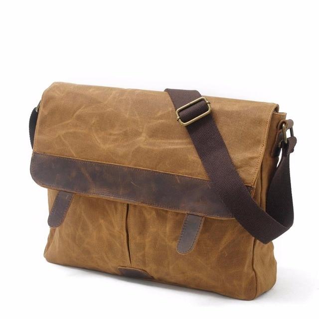 b746876ab9 Redswan Designer Brand casual Vintage Canvas Leather bags Crossbody Bag  Shoulder Messenger Bag waxed canvas bag